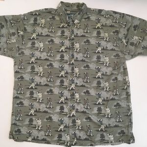 Big Dogs playing golf button down shirt